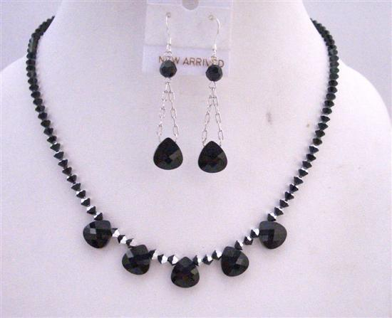 Primary image for Swarovski Jet Polygon Bead Necklace 2 Shaded Jet Black/Silver Crystals