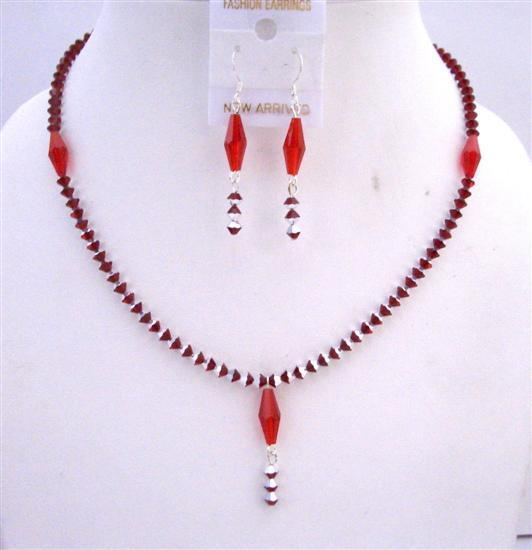 Siam Red Crystals 2 Shaded Necklace Set w/ Siam Long Bicone Crystals
