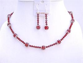 Swarovski Red Crystals w/ Bali Cap Beads Necklace Set 8mm Round Beads - $62.80