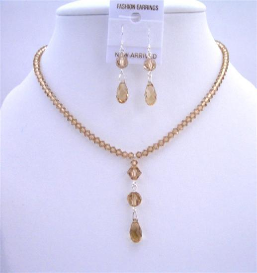 Primary image for Lite Colorado Crystals Bridesmaid Jewelry Set Multi Faceted Teardrop