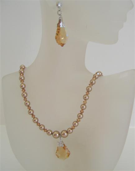 Golden Shadow Swarovski Crystals BronZe Pearls Jewelry Barque Pendant