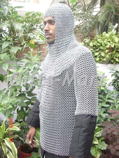CHAINMAIL Haubergeon ARMOR +HOOD LOTR,Medieval Chain Mail Shirt + Coif, Larp,Sca