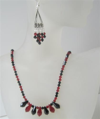 Handcrafted Swarovski Tear Drop Jet Siam Red Crystal Necklace Earrings