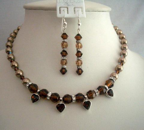 Primary image for Vintage Necklace Swarovski Bronze Pearls Smoked Crystals Heart Pendant