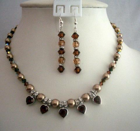 Primary image for Expresso Color Necklace Set Swarovski Bronze Pearls & Smoked Crystals