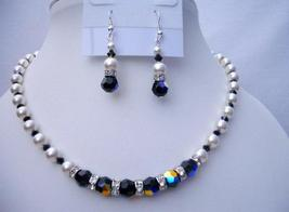 Swarovski White Pearls AB Jet Crystals Jewelry Necklace Sets - $51.08