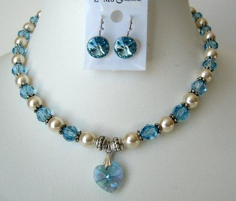 Swarovski Cream Pearls Aquamarine Crystals Heart Pendant Necklace Set