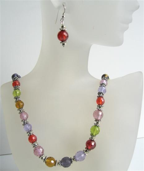 Colored Cubic Zirconia Faceted Beads Necklace Faceted Handmade Jewelry