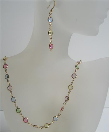 Primary image for Multi Colroed Swarovski Cyrstal Handmade Jewelry w/ 22k Gold Plated