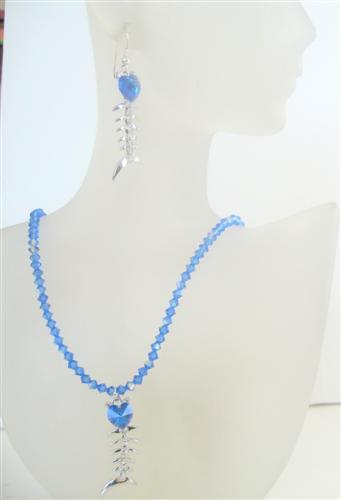 Primary image for Swarovski AB Sapphire Crystals Pendant Necklace Set Custom Handmade
