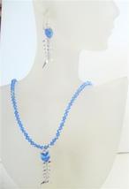 Swarovski AB Sapphire Crystals Pendant Necklace Set Custom Handmade - $52.38