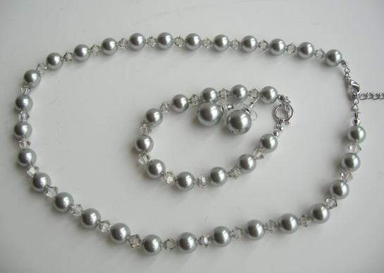 Handmade Pearls Clear Crystals Jewelry Necklace Earrings Bracelet Set