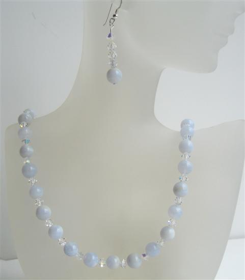 Swarovski AB Crystal Blue Agate Bead Jewelry Handmade Necklace Earring