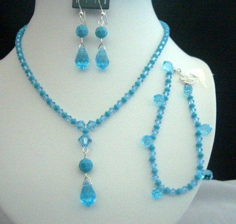 Primary image for Necklace Set Bracelet Swarovski Aquamarine Turquoise Crystals