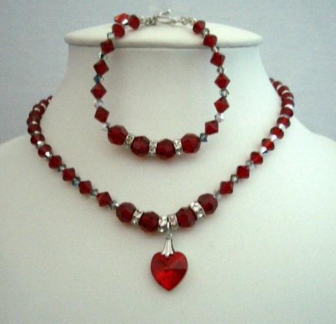 Handmade Necklace & Bracelet Swarovski Siam Red Crystals Heart Pendant