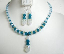 Carribean Blue Crystals White Opal Crystals Artisan Necklace Set Drop - $65.40