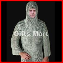 CHAINMAIL SHIRT W/ Free Hood, Knight Costume Armor LOTR, Fancy Dress Xmas Gift - $134.99