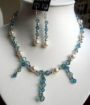 Swarovski Aquamarine Crystals & cream Pearls Necklace Set - $57.60