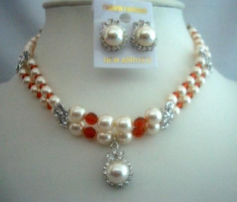 Double Strands Cream Pearls & Indian Red Crystals Handcrafted Jewelry