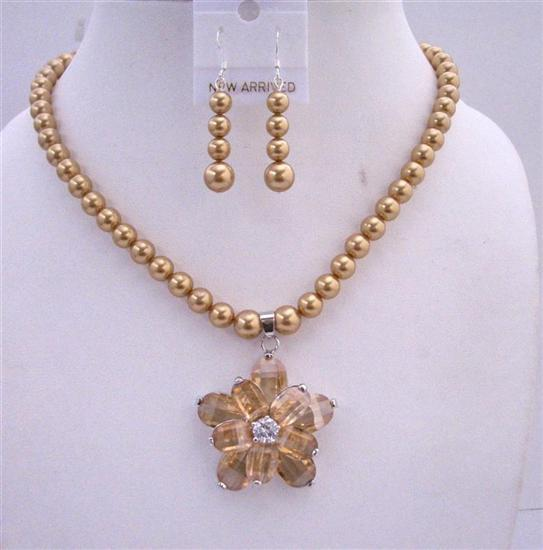 Primary image for Golden Tone Necklace Set Golden Pearls Topaz Crystals Flower Pendant