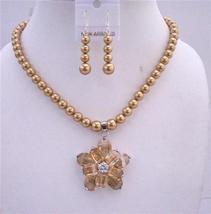 Golden Tone Necklace Set Golden Pearls Topaz Crystals Flower Pendant - $61.48