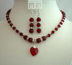 Bridal & Bridesmaid Jewelry Siam Red Crystals Heart Pendant Jewelry - $51.10
