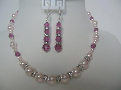 Primary image for Necklace Set Swarovski Rosaline Pearl Fuchsia Crystals Silver Rondells