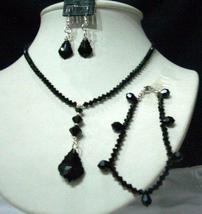 CustomMade Swarovski Jet Crystals Jewelry Set w/ Bracelet - $60.20