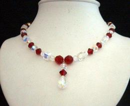 Swarovski AB Siam Red & AB Crystals Drop Pendant Handcrafted Necklace - $53.05
