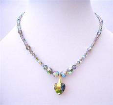 Vitrail Swarovski Crystals Necklace Heart Handcrafted Custom Jewelry - $49.15