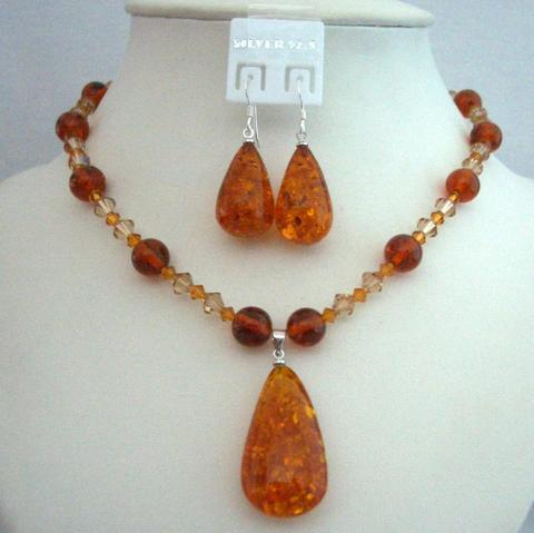 Primary image for Evening Party Jewelry Swarovski Topaz Crystals Necklace Amber Pendant
