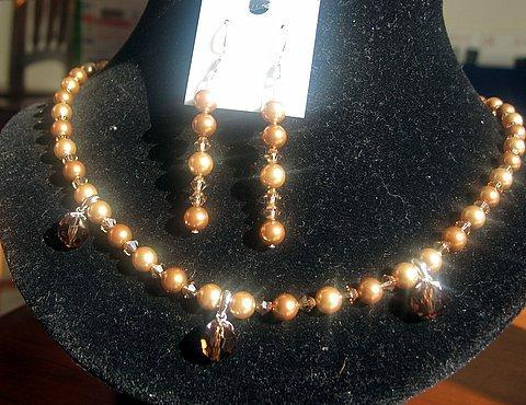 Swarovski Gold tone Crystals & Pearls Necklace Set
