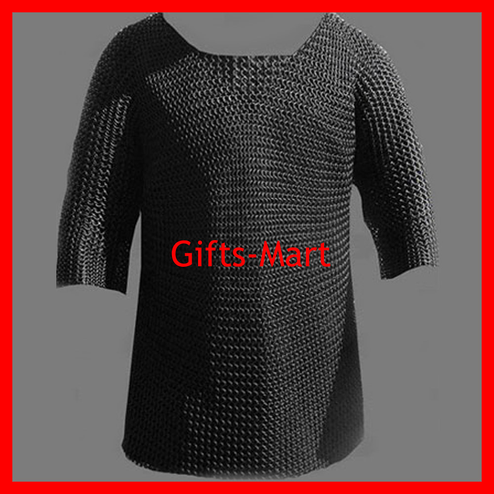 Chain Mail Butted Blackened Chainmail Shirt L Size, Medieval Armor Chainmaille