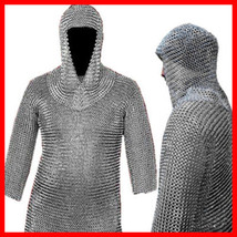 Chain Mail Shirt Riveted Aluminum ChainMail Armor +Coif LOTR Medieval Haubergeon - $161.43