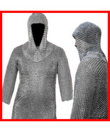 Chain Mail Shirt Riveted Aluminum ChainMail Armor +Coif LOTR Medieval Ha... - $161.43
