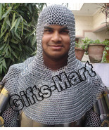 Chain-mail Coif Medieval Collectables Hood Zink polish, Chainmaille Coif... - $18.10
