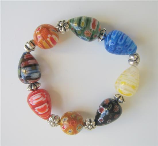 Primary image for Assorted Millefiori Colorful Beads Stretchable Bracelet w/ Bali Silver