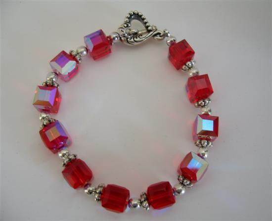 AB Siam Red Swarovski Crystal Cube Beads Sophisticated Bracelet Handcr