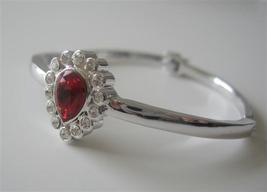 Siam Red Crystal Teardrop Rhodium Bracelet w/ Latch Clasp & CZ Bracele - $16.01