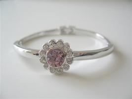 Amethyst Crystals Bangle w/ Cubic Zircon 7 inches Bracelet - $16.01