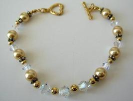 AB Swarovski Bracelets Bali Silver Bead w/ Heart Toggle Clasp Oxidized - $23.80