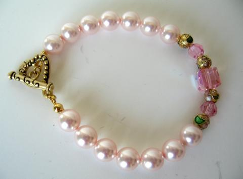 Bridal Party Wear Handcrafted Custom Bracelet Genuine Swarovski Pink P