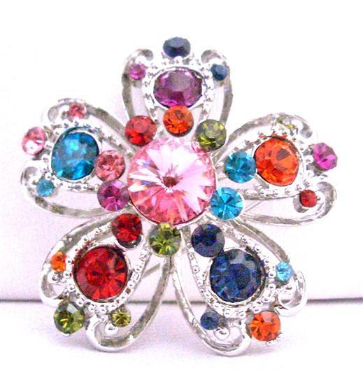 Unique Design MultiColor Crystals Flower Brooch