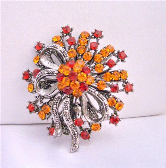 Fall Colors Fire Opal & Siam Red Crystals Oxidized Brooch