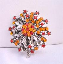 Fall Colors Fire Opal & Siam Red Crystals Oxidized Brooch - $26.38