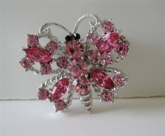 Sparkling Pink Crystals Butterfly in Silver Casting Brooch Pin