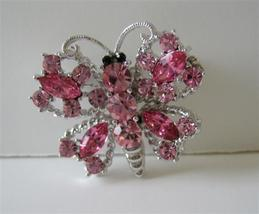 Sparkling Pink Crystals Butterfly in Silver Casting Brooch Pin - $19.90