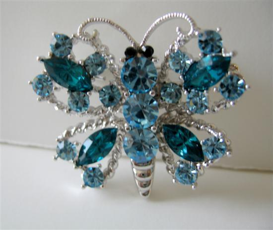 Primary image for Hard to Find Aquamarine Crystals Butterfly Brooch Pin
