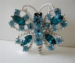 Hard to Find Aquamarine Crystals Butterfly Brooch Pin - $19.90