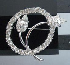 Vintage Tulip w/ Simulated Diamond In Circle Brooch Pin - $15.33